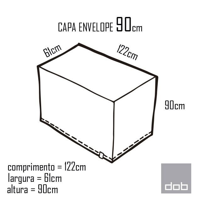 Capa para mesa dobrável Envelope Branca P - 122x61x90cm