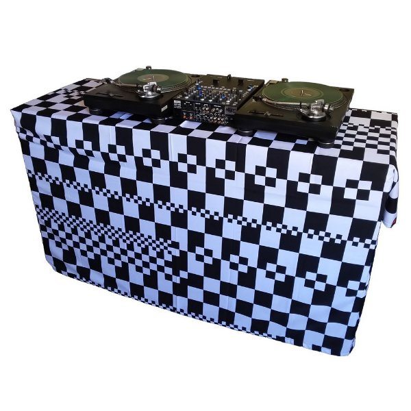 Capa para mesa Multiuso Xadrez Preto e Branco com ilhoses 240x140cm
