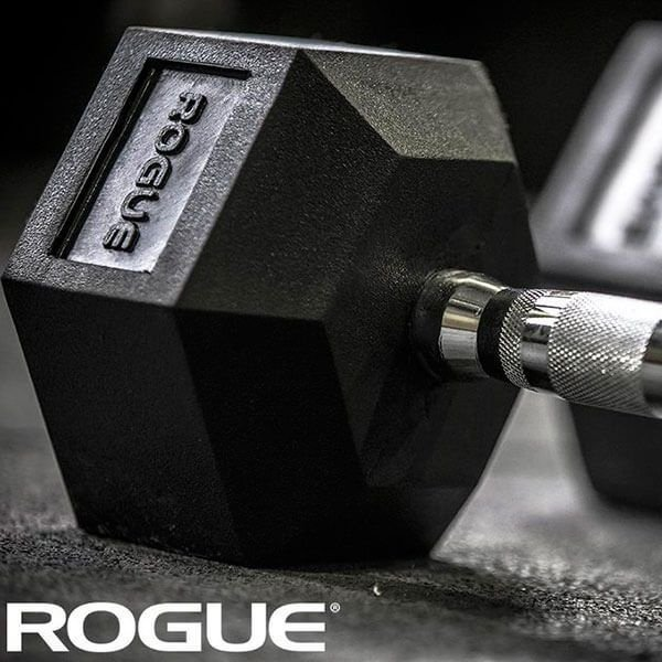 Dumbbell Rogue de Borracha Hexagonal 15lb (6,80kg) - Par