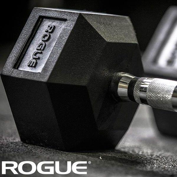 Dumbbell Rogue de Borracha Hexagonal 30lb (13,60kg) - Par
