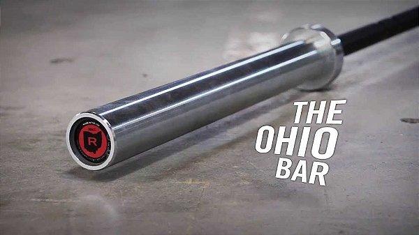 Barra Olímpica Masculina ROGUE 1.2 OHIO 28,5mm - Cor Preta Zincada com Mangas Prateadas - 20kg