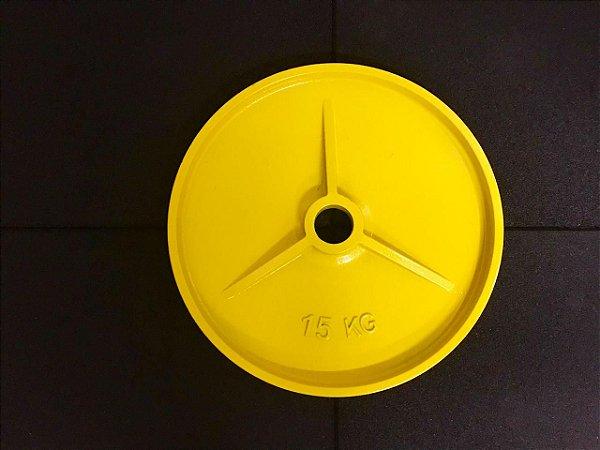 Anilhas de Ferro Olímpicas Colorida - 15kg - Amarela  - par