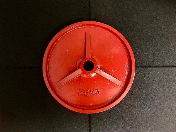 Anilhas de Ferro Olímpicas Colorida - 25kg - Vermelha - par