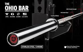 Barra Olímpica Masculina ROGUE 1.2 OHIO 28,5mm - Stainless (Aço Inoxidável) - 20kg