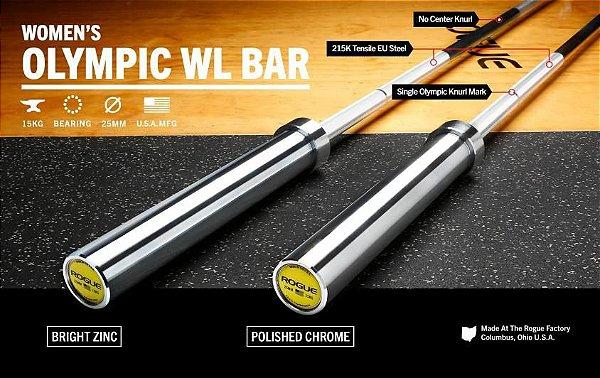 Barra Olímpica Feminina ROGUE OLY WL 25mm - Zinco Brilhante - 15kg