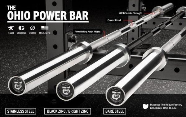 Barra Olímpica Masculina Rogue POWER BAR 29mm - Black Zinc / Bright Zinc - 45LB
