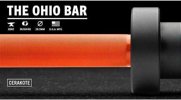 Barra Olímpica Masculina ROGUE 1.2 Ohio 28,5mm CERAKOTE - Eixo Laranja - Mangas Preto