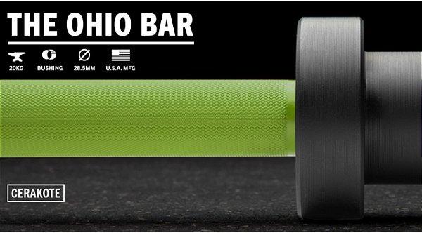 Barra Olímpica Masculina ROGUE 1.2 Ohio 28,5mm CERAKOTE - Eixo Verde - Mangas Preto