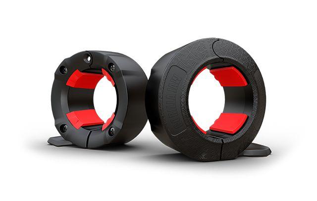 """Presilha Barra Olímpica GorillaJaw - 2"""" (50mm) - par - Cor Preto com vermelho"""