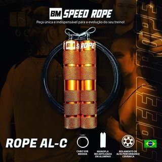 Corda de Pular BMSR - Manopla Alumínio Dourada - Fio Preto 1,3oz (HYPER)