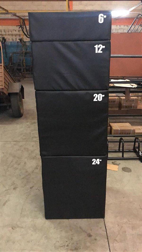 "Kit 4 Caixas de Salto Plyobox Acolchoado - Medidas 12"" / 16"" / 20"" / 24"""