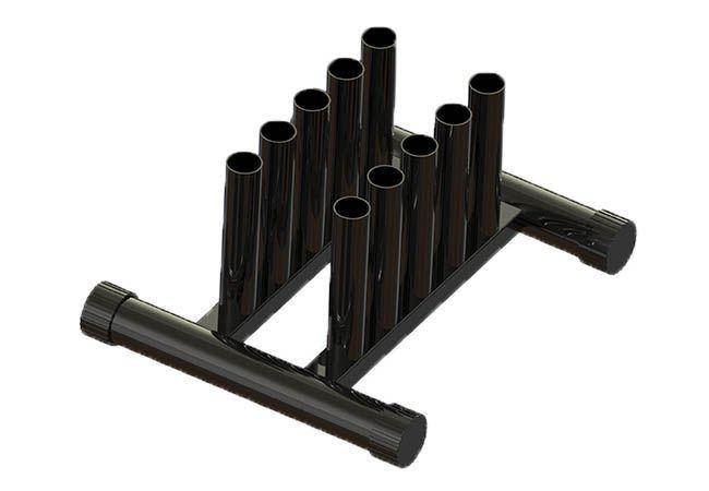Expositor 10 Barras Olímpicas - Modelo Fogueteiro - Vertical