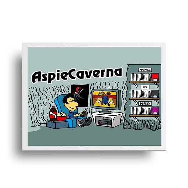 Poster Humor Azul - Aspi e Caverna - tamanho 20 x 25