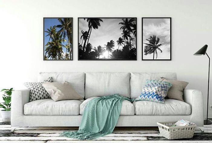 Conjunto de Quadros Decorativos Céu de Coqueiros | 40x50 cm, 70x50 cm, 40x50 cm | Molduras Pretas