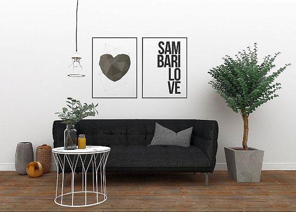 Conjunto de Posters Coração Geométrico Cinza + Sambarilove 50x70 cm Cada - Molduras Pretas