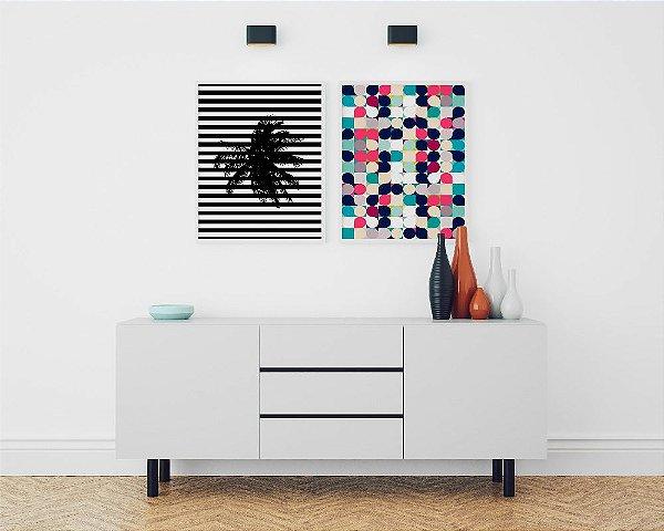 Conjunto de Posters Geométrico Coqueiro + Círculos Retrô 40x50 cm Cada - Molduras Brancas