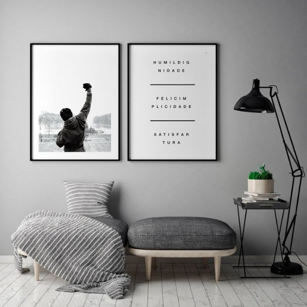 Conjunto de Posters Rocky Balboa + Tripé da Vida 50x70 cm Cada - Molduras Pretas