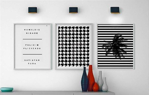 Conjunto de Posters Tripé da Vida + Geométrico Fé + Geométrico Coqueiro 40x50 cm Cada - Molduras Brancas