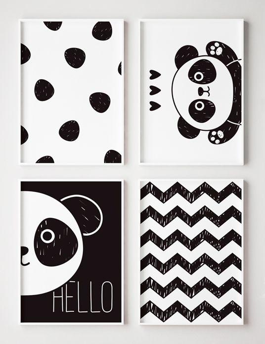 Conjunto 4 Quadros Decorativos Panda - Urso, Preto e Branco, Quarto Criança