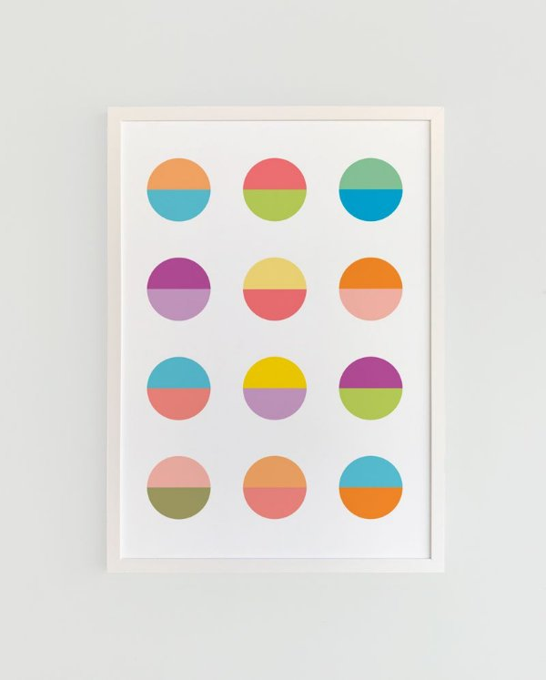 Quadro Decorativo Poster Luas - Círculos, Colorido, Fundo Branco