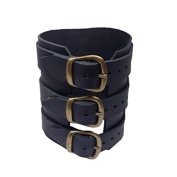Bracelete de couro masculino rock preto medieval artesanal