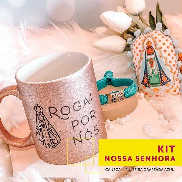 Kit NOSSA SENHORA   caneca + pulseira drapeada