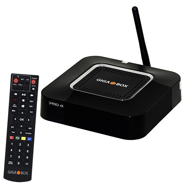 Receptor FTA Gigabox Droid 4K Wi Fi com HDMI/RJ45/USB 3.0 e 2.0 - Preto