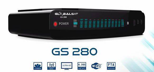 Globalsat GS 280 - ACM, H265, WiFi, 3 Tunners - Lançamento