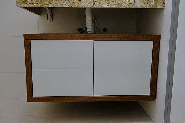 Gabinete de Banheiro Branco e Noce Naturale com 3 gavetas one touch - Em MDF - TreeMobili