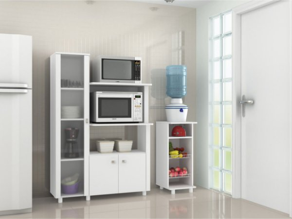 Armário / Balcão para cozinha com prateleiras e porta de vidro - BL3304