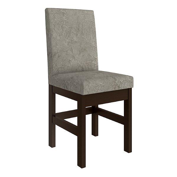 Cadeira Tabaco Encosto Estofado Suede Amassado Bege - HB14