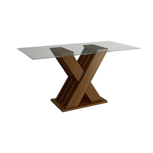 Mesa de Jantar cor Canela com Tampo de Vidro - HB114-Canela