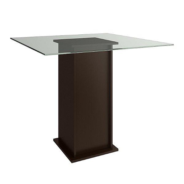 Mesa de Jantar quadrada cor Tabaco com Tampo de Vidro - HB115