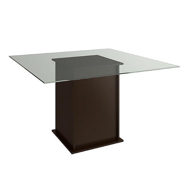 Mesa de Jantar Tabaco com Tampo de Vidro - HB117