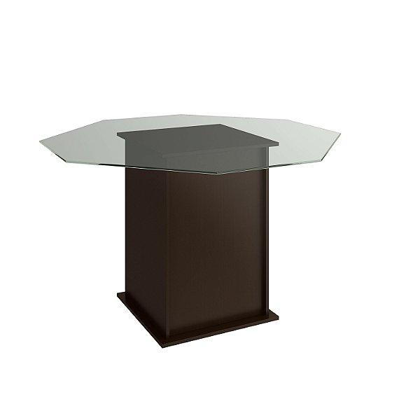 Mesa de Jantar cor Tabaco com Tampo de Vidro - HB119