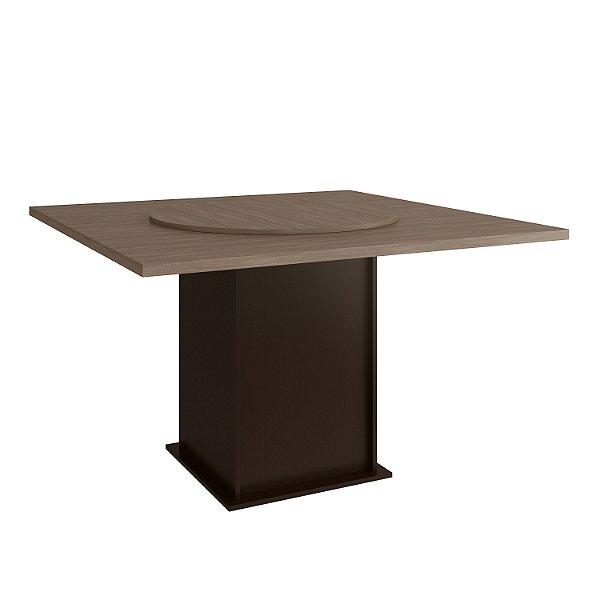 Mesa de Jantar com Tampo Giratório - Cor Tabaco - Tampo Nogal Turin - HB157