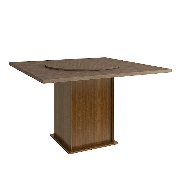 Mesa de Jantar com Tampo Giratório - Cor Canela - Tampo Nogal Turin - HB157
