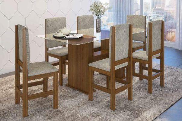 Conjunto Mesa de jantar com tampo de Vidro e 6 Cadeiras - HB123c