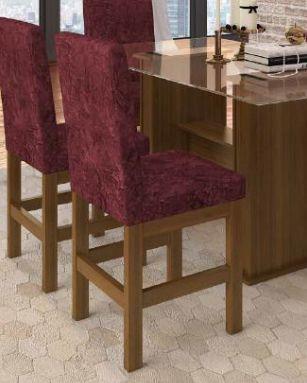 Cadeira Canela Encosto Estofado Suede Vinho - HB14