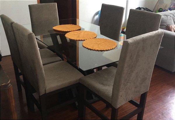 Conjunto Mesa de Jantar com Tampo de Vidro e 6 Cadeiras cor Tabaco - HB114T