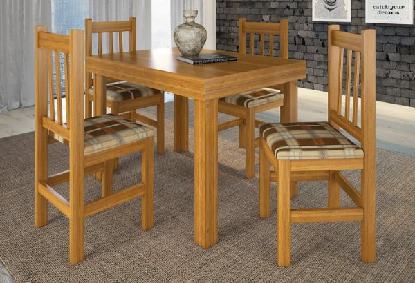Conjunto Mesa Padrão HB116 cor Cerejeira com Tampo Sumauma e 4 cadeiras HB20