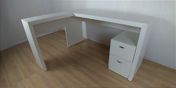 Mesa em L com 2 gavetas para escritório - ME4129