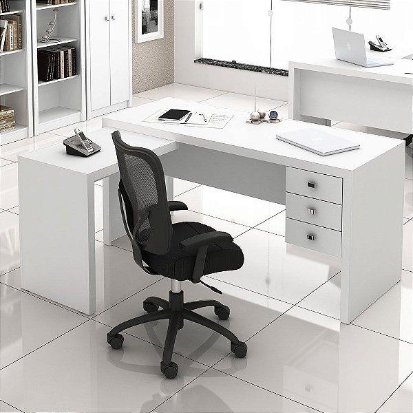 Mesa em L para escritório com 3 gavetas - ME4106