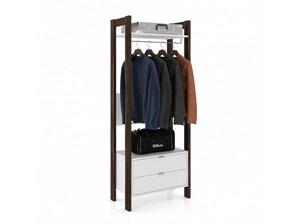 Armário Alto Multiuso com 1 prateleira, 2 gavetas e 1 cabide para roupas - AZ1011