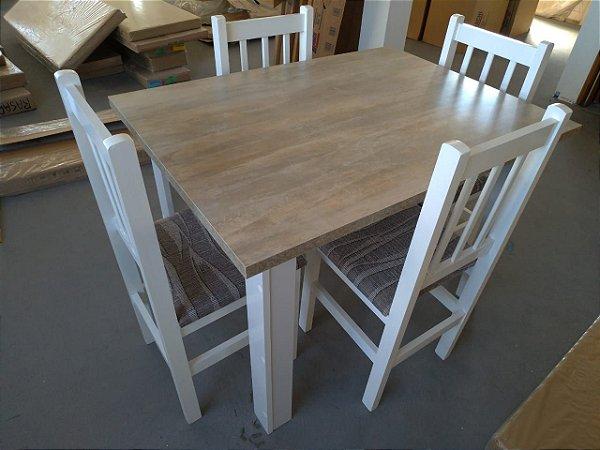 Conjunto Mesa Branca Tampo Santurini com 4 cadeiras - HB110