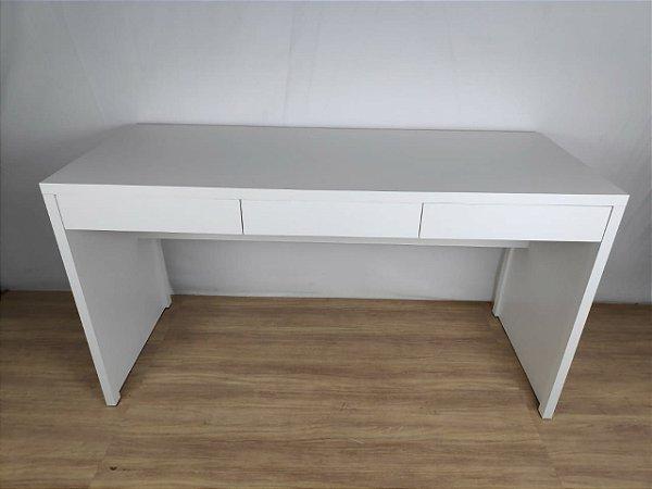 Mesa Escrivaninha Valencia Branca com 3 gavetas 150x60 em MDF - TreeMobili