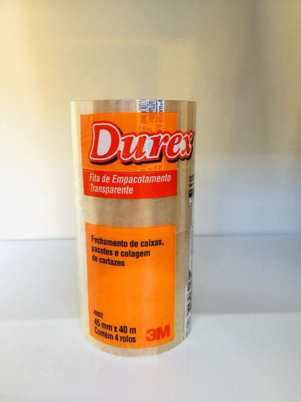 4 Rolos de Fita adesiva Transparente 45mm x 40metros DUREX - 3M