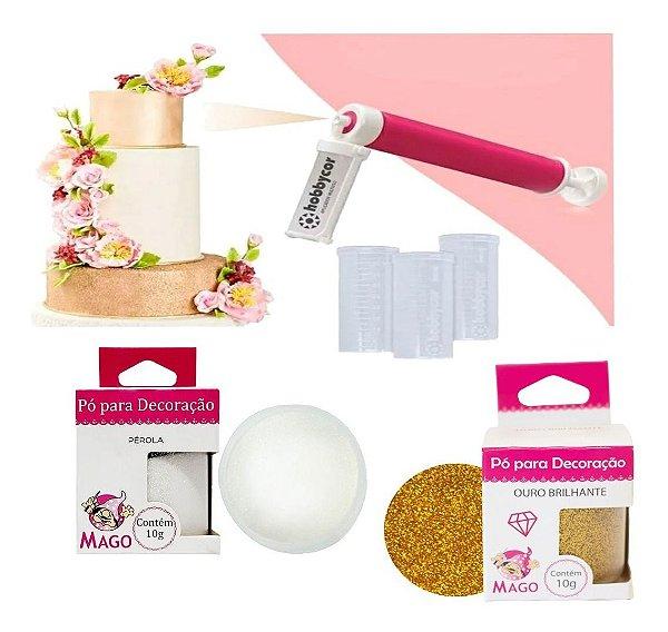 Kit 2 Glitter Para Colorir Comestível Pulverizador para Confeitaria