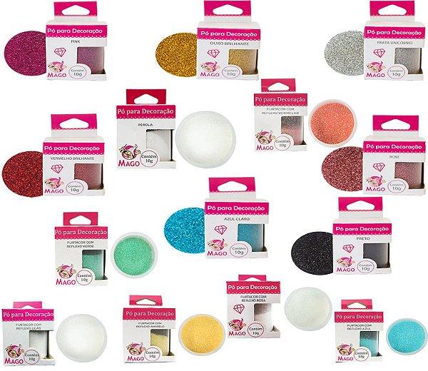 Kit 14 Glitter Para Confeitaria Comestível Novas Cores Mago