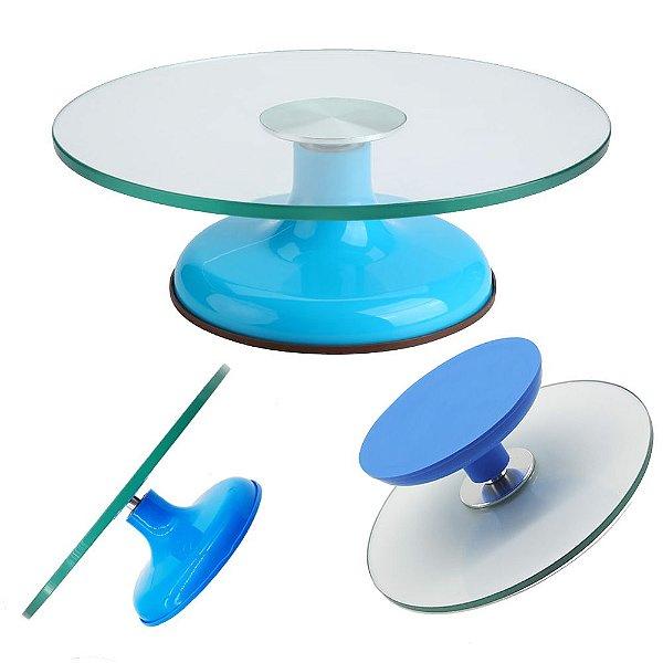 Bailarina Luxo de Vidro Azul Giratória Com Rolamento Duplo